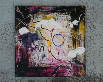 """Provisional booking abstract painting, acrylic painting on canvas square multicolor """"Graffiti 1"""""""