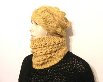 more collar snood wool hat mustard yellow hand knitted women winter accessories