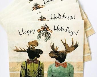 Gay Holiday Card or Card Set | Love Moose Christmas Card | Unique Gay Christmas Card | Retro Illustrated Holiday Card | LGBTQ Cards