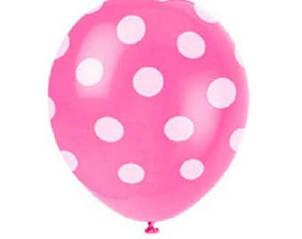 American 6 balloons pink polka dot pattern helium quality Latex