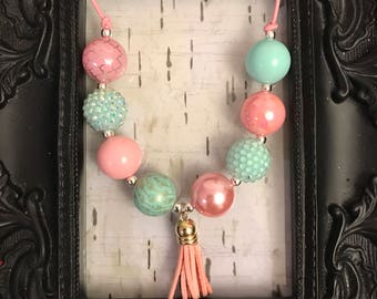 Bubblegum chunky tassel necklace