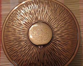 Vintage Bronze Tone Circular Jewelry Box