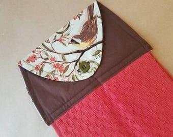 Warbler Hanging Kitchen Towel, Button Top Dish Towel, Housewarming Gift, Nature, Oven Door Towel, Kitchen Linens, Birdwatcher gifts, Yellow