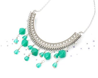 Silver torque necklace glass bead spun Mint Green