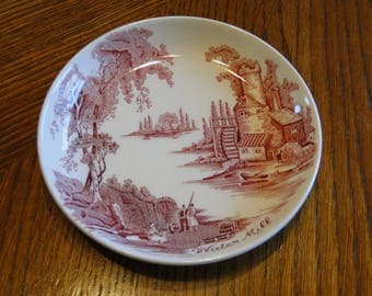 Retired Johnson Brothers Old Mill Coaster, Old Chelsea Pink Water Mill Scene Trinket Dish, Ring Holder