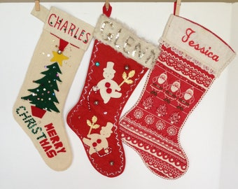 Vintage Handmade Christmas Stockings, Lot of 3, Charles, Glenn, Jessica, Kid Stockings, Vintage Christmas Decor