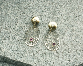 BOTANIK 18K Gold & Silver earrings with Diamonds and Rubies