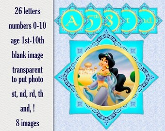 Princess Jasmine Birthday Party Banner - printable alphabet, numbers & more - Instant Download