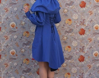 indigo blue trench coat hood fairy tale