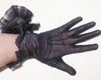"DECO Vintage 1930s Navy Blue Fishnet Lace & Voile RUFFLE CUFF 11"" Over Wrist Top Stitch Gloves Edwardian Gatsby Flapper Race Day Burlesque"