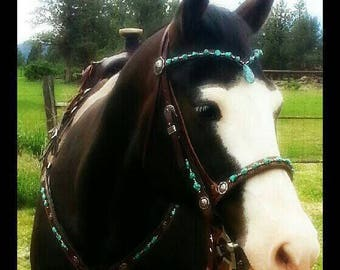 Turquoise Pendant and Nugget Headstall Breast Collar Tack Set Inspired Turquoise Tack Original Design