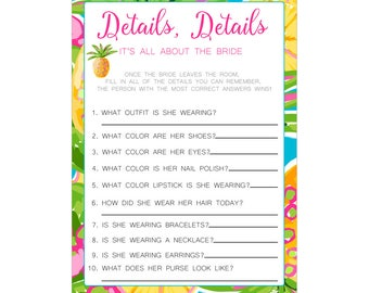 Digital Printable Details Game for Bridal Showers or Bachelorette Party with Tropical Pineapple CGD003