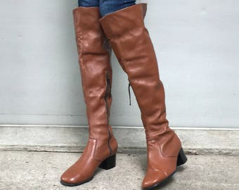 1970s leather over the knee boots - size 6.5 - 1970s vintage thigh high boots with cuff - 1970s medium brown leather boots - 70s boho boots