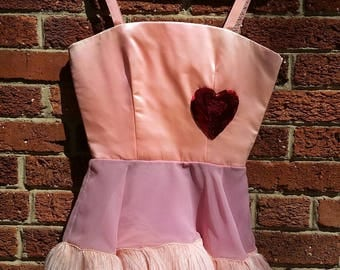 Vintage 60s 70s Pink Feather Ice Follies Costume // Vintage Ice Skating Dress // Sequin Heart Showgirl