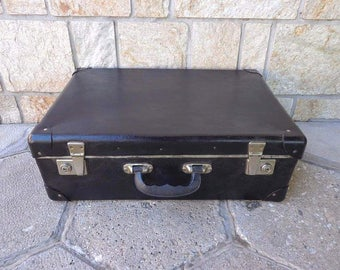 Vintage cardboard suitcase from the 60s, Blask Suitcase, Home Decor, Vintage luggage,  A large antique suitcase