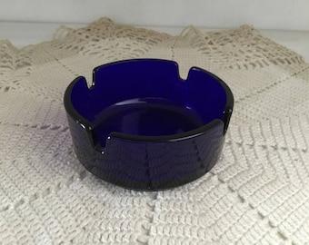 Vintage cobalt blue glass ashtray, gift for him,