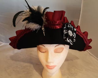 Black Wool Tricorn with Burgundy and Silver Trim