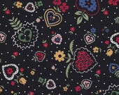 Heart Fabric - Daisy Fabric - Black Fabric - With Love by Sharon Evans - In The Beginning Fabric 2009