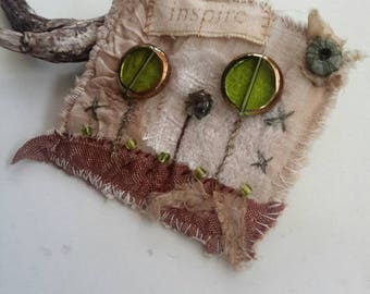 Fabric brooch wearable art pin browns greens vintage lace gift fiber art badge