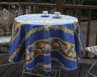 """Round cotton tablecloth.42 to 62"""" diameter. Fabric from Provence, France.Bistro tablecloth.Summer tablecloth.citrons in blue"""
