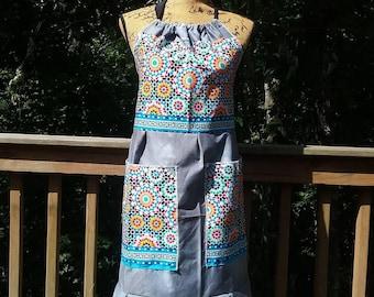 Womens Apron, Market Apron, Recycled Apron, Pocket Apron, Halter Top, Festival Apron, Gardening Apron, Patchwork Apron, Hippie Top, Handmade