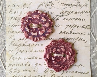 Handmade Ceramic Buttons With A Lace Flower Design Burgundy Color (set of 2)