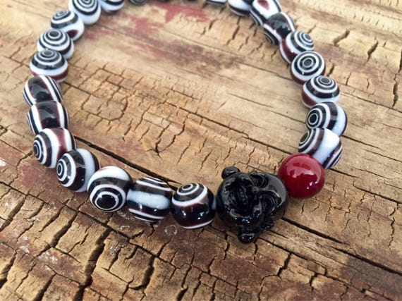 Buddha Bracelet, Coral Black Bracelet, Evil Eye Bracelet, Yoga Bracelet, Women's Bracelet, Mens Bracelet, Spiritual Bracelet, Zen Bracelet