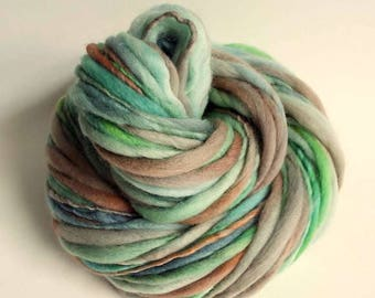 Chunky thick and thin merino knitting yarn, handspun wool in greens, greys, blue and browns, knitting wool, hand dyed yarn