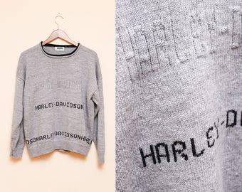 Harley Davidson Sweater // Handmade Motorcycle Sweatshirt // Rare Hand Knit Gray Harley Size Medium Large