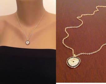 Evil Eye Jewelry, Rhinestone Necklace, Gold Studded Rhinestone Evil Eye Necklace, Gold Plated Jewelry, Birthday Gşft Finds, Bff Gifts,