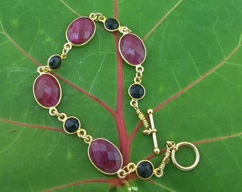 Regal Raw Ruby and Black Onyx Bracelet