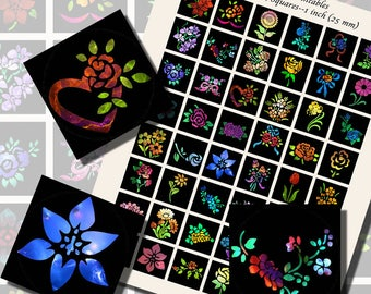 Flowers, Floral Nebulas, ONE INCH SQUARES (25mm), with 1/2 inch (13mm) and 3/4 inch (20mm) squares included