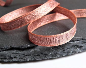 Rose Gold Lame , Sparkly Double Sided Ribbon 7mm Wide Per Metre ---1---