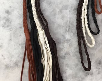 Braided Leather Necklace with Tassel, Soft Deerskin, Handmade, DIY, Leather Only, Soft, Assorted Colors