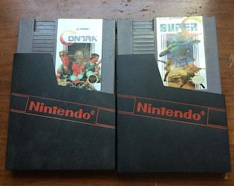 NES Contra and Super C game cartridges