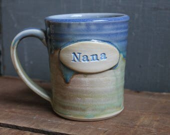 Nana Mug, handmade, unique, green, drippy blue, gift, IN STOCK, ready to ship