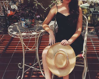 Vintage straw hat sun hat beach hat printed bandana fabric trim