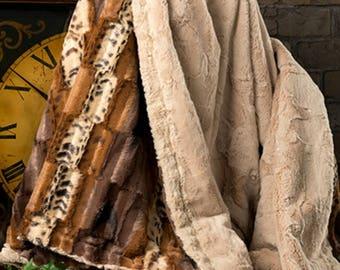 Luxury Faux Fur Throw, Adult Throw, Faux Fur Blanket, Luxury Home Decor, Minky Adult Throw,Leopard Throw