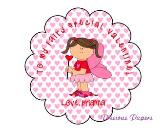 Personalized fairy Valentines Day stickers, Valentines Day kids Scalloped stickers