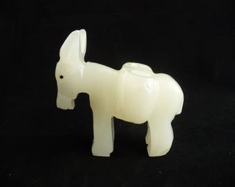 White Onyx Donkey Toothpick Holder, Two Places For Toothpicks, Burro, Pack Mule