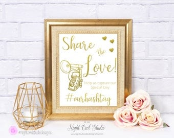 Printable Instagram Sign, Share the Love Printable, Personalized Hashtag Sign, Social Media Sign, Gold Foil, Wedding, Quinceañera, Parties