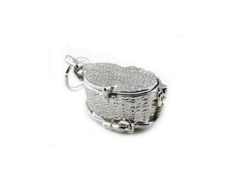 Sterling Silver Opening Fishing Basket Charm For Bracelets
