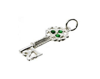 Sterling Silver 21st Green Crystal Set Key Charm For Bracelets