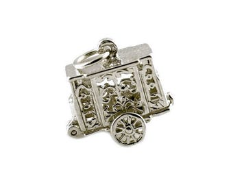 Sterling Silver Opening Punch & Judy Trailer Charm For Bracelets