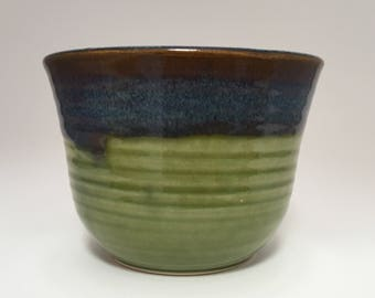 Green Brown and Blue Cereal Soup Bowl
