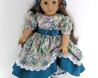Handmade Doll Clothes for 18 inch American Girl - 1850s Civil War Dress, Pantalettes, Hair Ribbons - Teal Floral - Boots, Socks Option