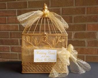Gold Bird Cage Money Holder, Bird Cage Wedding Supplies, Shower Card Holder, Bridal Shower Birdcage, Bridal Shower Decor, Baby Shower Cards