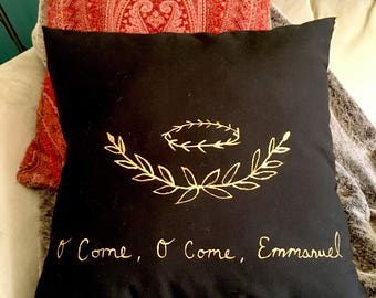 """CLEARANCE O come Emmanuel throw pillow, chalkboard black and gold, handwriting, hand painted design, 18"""" pillow"""