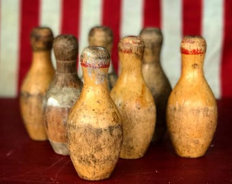 Vintage Wood Bowling Pins | Small Bowling Game Pins | Antique Toy | Americana | Vintage Wooden Toys