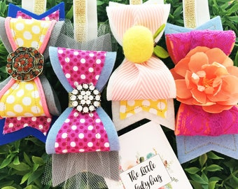 Pack of 4 M2M Made to Match Matilda Jane The Adventure Begins R4 Felt Bow Headbands or Clips